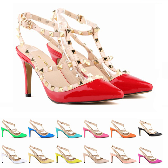 big size 35-42 fall 2015 SEXY WOMEN candy color 9CM high heel rivet T strap ankle pump lady club party close anti-wolf shoes(China (Mainland))