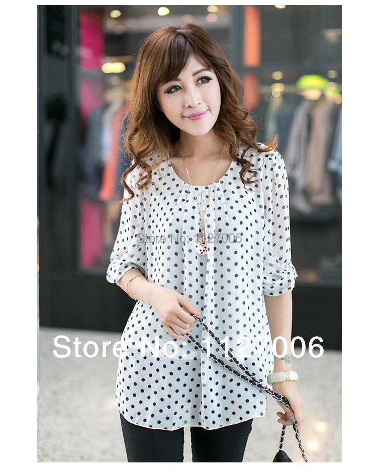 22 excellent womens white blouse with black polka dots for White red polka dot shirt