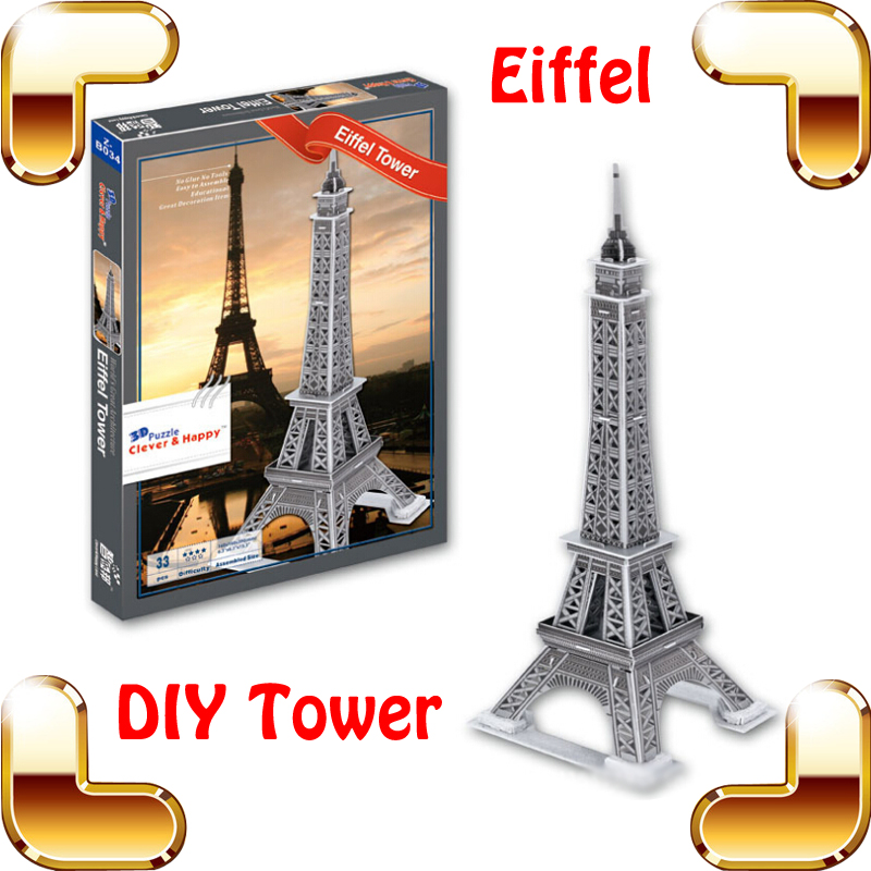 New Year Gift Eiffel Tower 3D Puzzle Model Structure French Tower Puzzle DIY Learning Toy Decoration Puzzle Interest Game(China (Mainland))