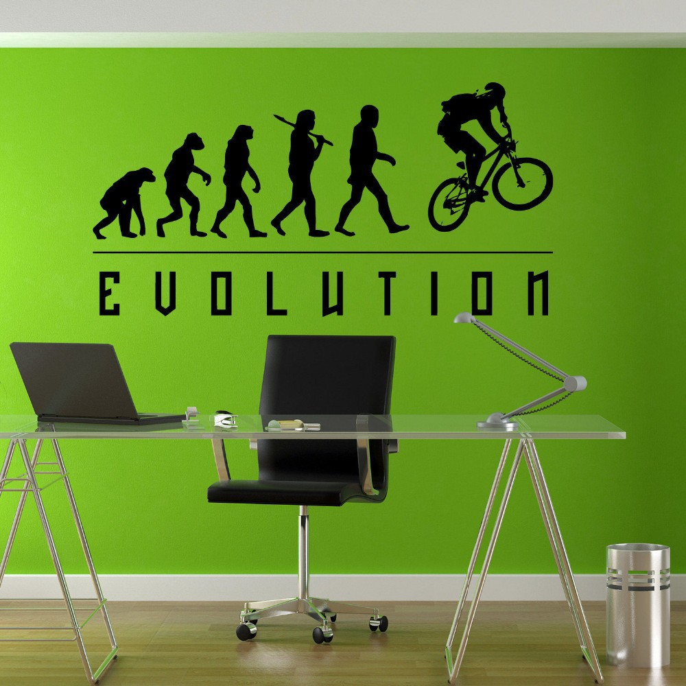 Free Shipping Evolution BMX Biker Bicycle Childrens Wall Mural Vinyl Art Stickers Decor Decal Diy C Deco Bicycle Stickers Y-210(China (Mainland))