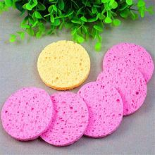 1pcs Circle Shaped Natural Wood Fiber Face Wash Cleansing Sponge Beauty Makeup Tools Accessories