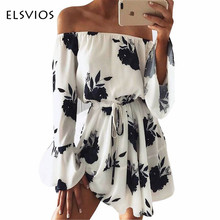 Buy ELSVIOS 2017 Summer Floral Print Dress Sexy Shoulder Slash Neck Beach Dress Casual Flare Sleeve Women Dress Vestidos for $10.99 in AliExpress store