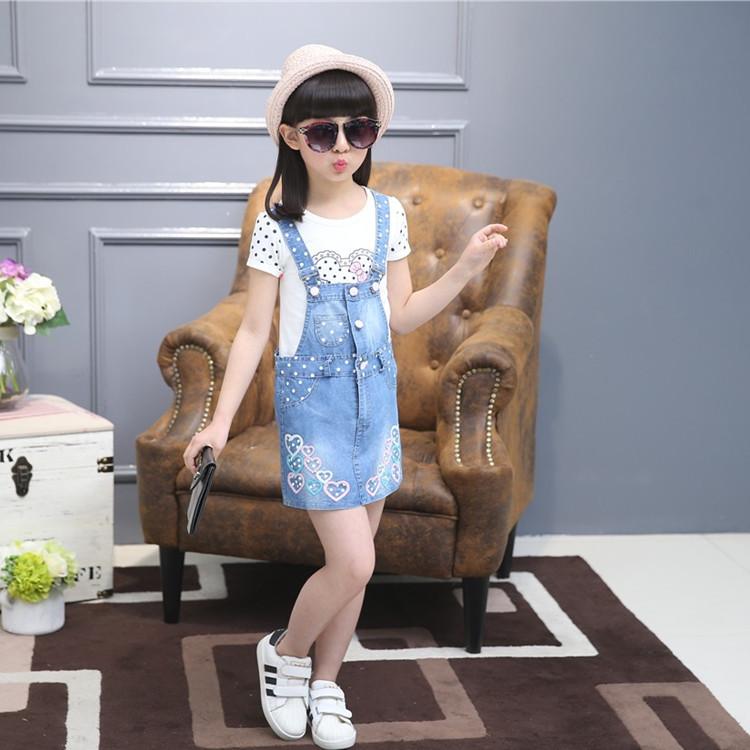 new arrive 2016 girls Fashion autumn Cotton denim suspender skirt+ T-shirt skirt suit two pieces children girls clothing set(China (Mainland))