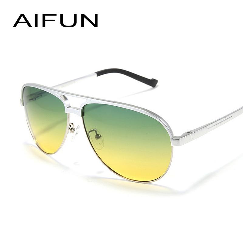 AIFUN Aluminum Magnesium Alloy Classic Polarized Sunglasses Men Day&Night Coating Green Yellow Lens Sun Glasses Women AF-8548(China (Mainland))