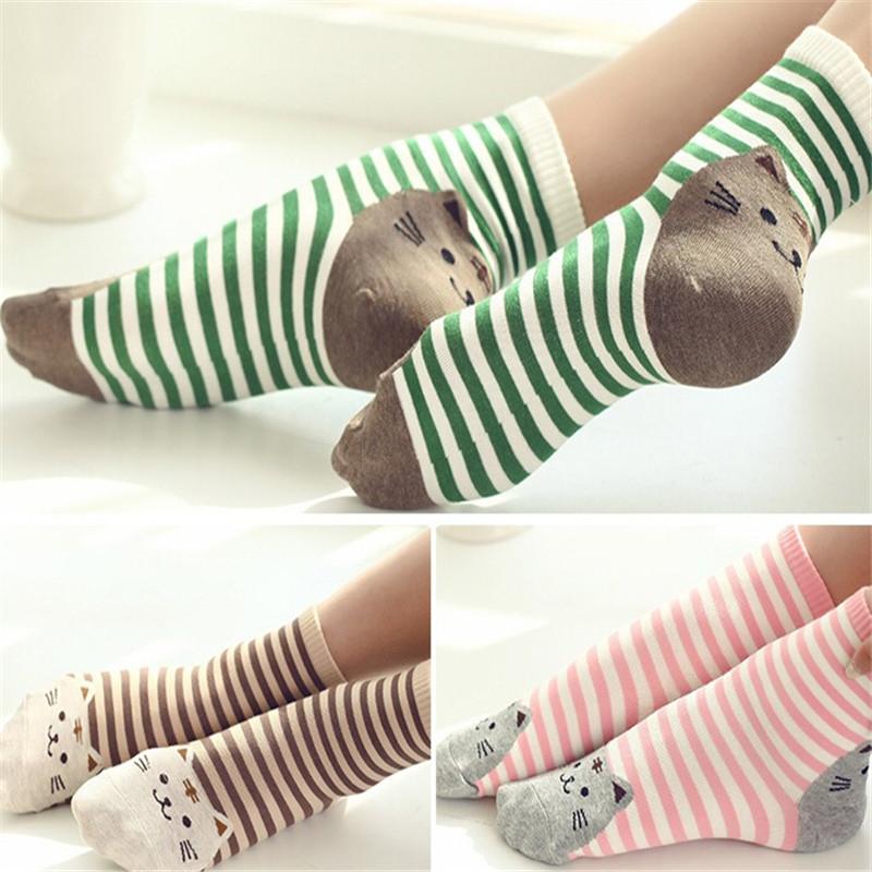 2016 High Quality Female 3D Animal Cat Footprints 6Colors Striped Cartoon Socks Women Cotton Floor length sock for Lady Girl Kid(China (Mainland))