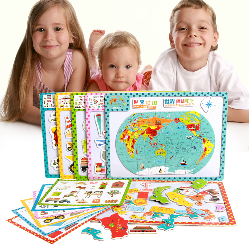Kids Toys Magnetic puzzle wooden Child's Jigsaw Puzzle big size Toddlers Educational Toys for Children Free Shipping(China (Mainland))