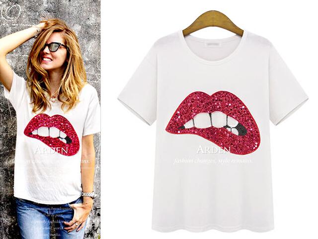 Минимальный $ 10 ( ) женщины в лето T рубашка хлопок зеленый красный губ XL-5XL вышивка пайетки T рубашка