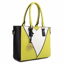 Buy Miss Lulu New Fashion Women V Shape Patchwork Zip Handbag Shoulder Tote Hand Bag Cross Body Satchel PU Leather Yellow LG1641 for $36.80 in AliExpress store