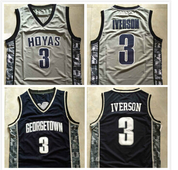 #3 Allen Iverson jersey Georgetown Hoyas NCAA College Basketball Jerseys 2015 New Throwback Retro Jersey Embroidery logos(China (Mainland))