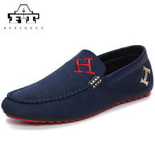 2016 Mens Loafers Casual Men Shoes Suede Leather Flats Oxfords Slip On Driving Shoes mocassin homme mocasines hombre red blue(China (Mainland))
