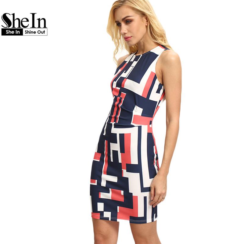 SheIn New Woman Dresses 2016 Sexy Club Wear Summer Multicolor Round Neck Sleeveless Geometric Print Bodycon Dress(China (Mainland))