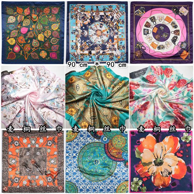 Women 90*90cm satin Square Scarf High Quality Imitated Silk Satin Scarves Shawl Hijab 2014 fashion style(China (Mainland))