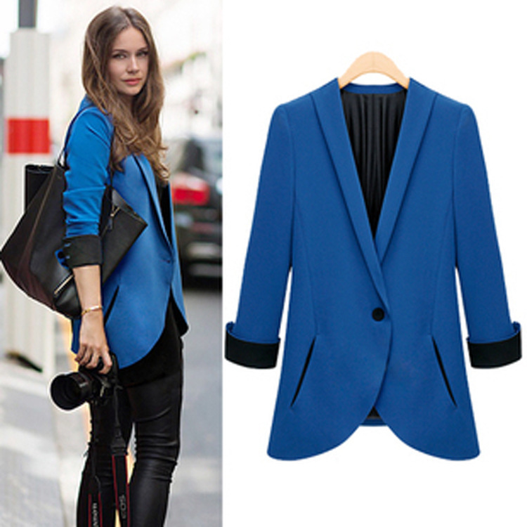 new women solid color blazers and jackets for women formal. Black Bedroom Furniture Sets. Home Design Ideas