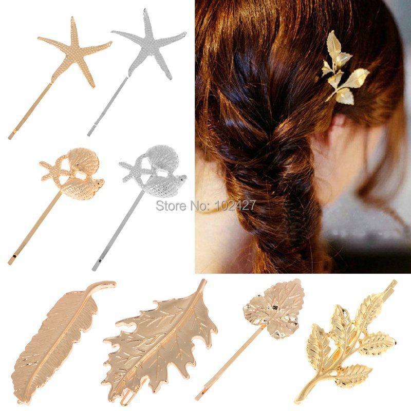 Vintage Wedding Hair Accessories Fashion Golden Metal Shell Starfish Leaves Hair Barrettes Hair Clip Hairpin Headwear for Women(China (Mainland))
