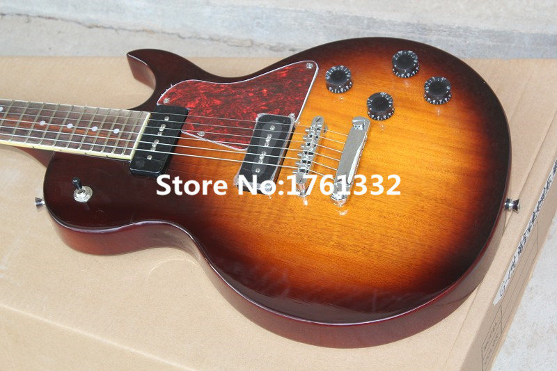 Factory custom tobacco sunburst retro electric guitar with 2 piece P90 pickups,fixed bridge,red pear pickguard,can be customized(China (Mainland))