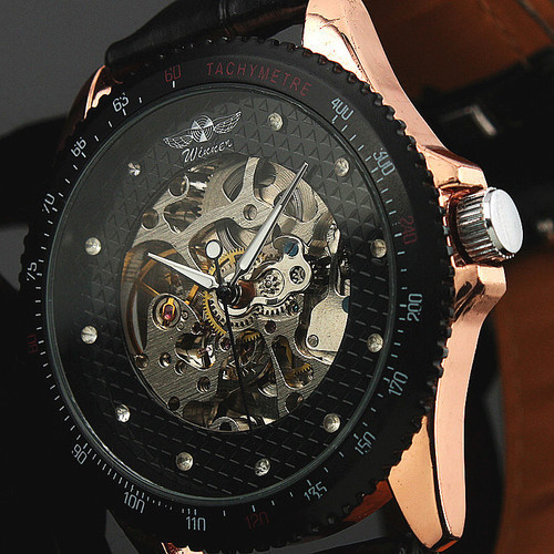 2015 Winner New Style Mens Skeleton black Automatic Mechanical Watch With Winner Brand Stainless Steel Band Free shipping<br><br>Aliexpress