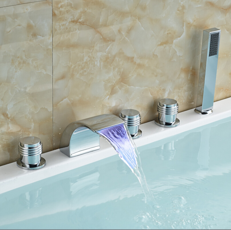 Фотография Chrome Finished LED Color Changing Bathtub Faucet Deck Mount Waterfall Bathroom Tub Filler with Handheld Shower