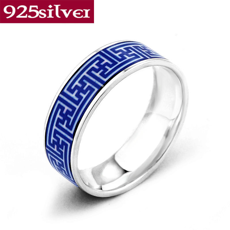 Chinese Blue And White Porcelain Pattern Enamel Rings Pure 925 Sterling Silver Rings Elegant 7.1mm Width Men Jewelry LFR7014(China (Mainland))