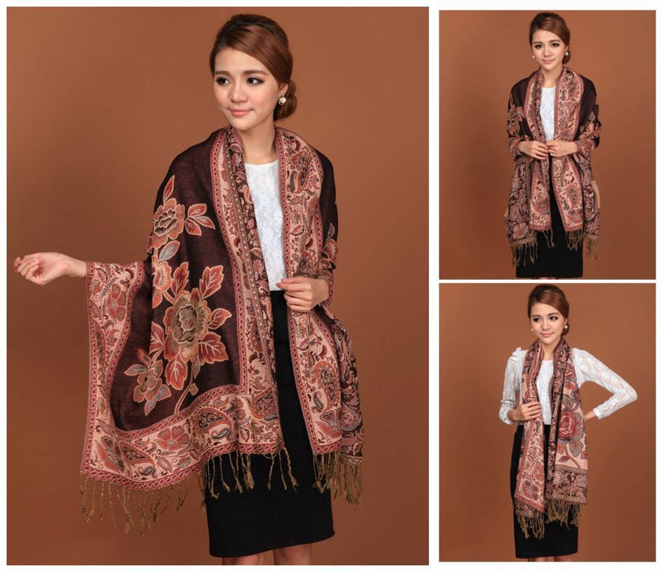 Black Hot Sale Fashion Double Faces Fancy Paisley Women's Pashmina Shawl/Scarf Wrap Peony Free Shipping RH-1(China (Mainland))
