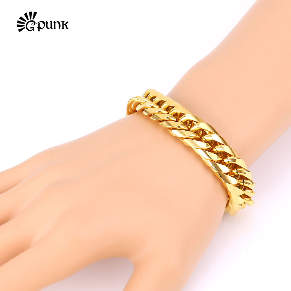 Men Fashion Bracelet 316L Stainless Steel Never Fade 18K Gold Plated 22Cm Gift Punk Hiphop Style Chain Bracelet H133(China (Mainland))
