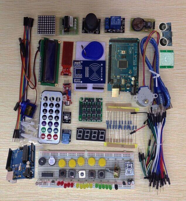 Starter Kit for arduino Uno R3 / mega 2560 / Servo /1602 LCD / jumper Wire/ HC-04/SR501 with retail box 100 kits(China (Mainland))
