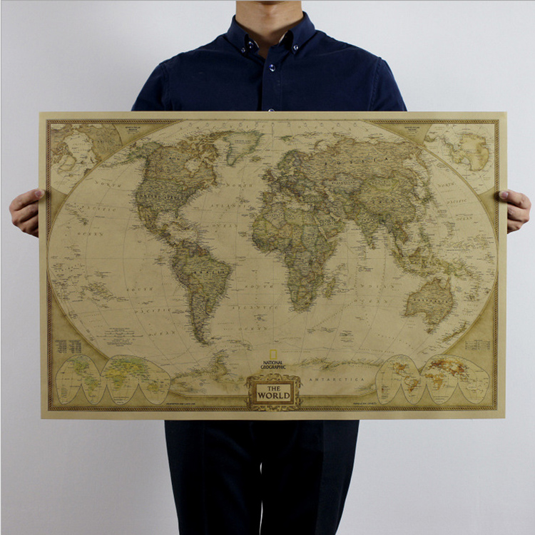 Maps World map Vintage Retro Paper Earth Poster Wall Chart Decor Present convenient for travel high quality(China (Mainland))