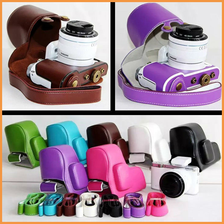 NEW PU Leather Camera Case Cover Bag Samsung NX3000 20-50mm lens strap - ChenLian store
