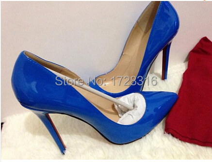 2015 genuine leather brand women pumps Sexy pointed toe ultral high 12cm heels wedding party shoes Unique color - Super VIP shoe store