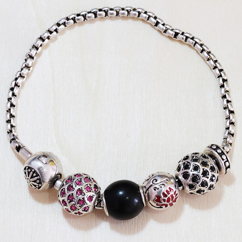 Thomas Style Bead Bracelet With Fish, Obsidian & Flower of Life Beads, 925 Silver Bracelet For Women and Men TS B320(China (Mainland))