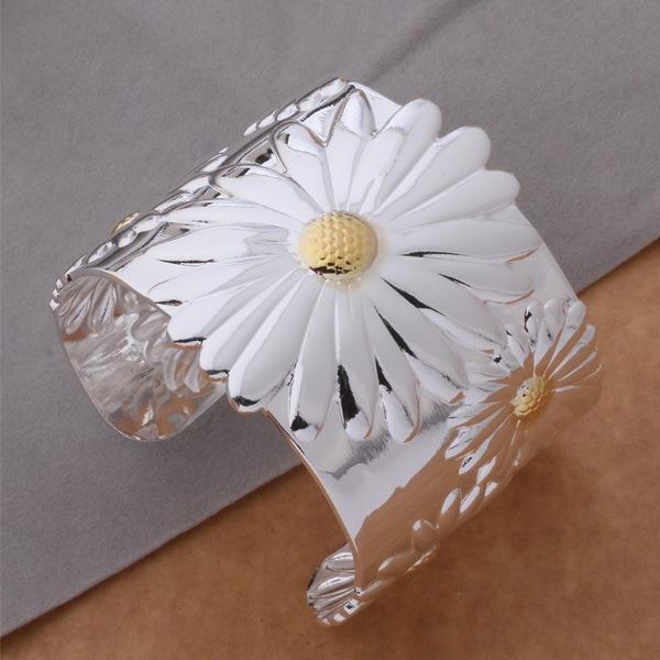 Hot sale Fashion Jewelry 925 sterling silver Bangles Cuff Bracelets Extra large chrysanthemum bracelet /bmvakeca eltandaa AB151(China (Mainland))