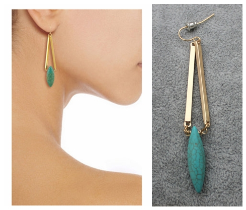 Fashion Natural Stone Teardrop Hook Earrings Turquoise Gold Plated Long Water Drop Earrings For Women Gem Brincos Jewelry(China (Mainland))