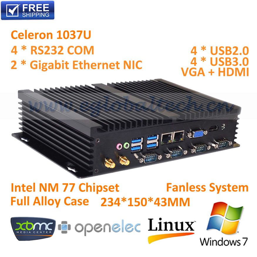 Mini PC Windows 7 With Intel Core C1037U 8G DDR3 ram 16G SSD And 4K DP 300M WiFi+BT+IR+DHL Free Shipping 12V Car PC(China (Mainland))