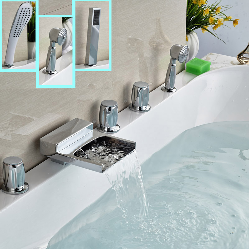 Фотография 3-Style Deck Mount Bathroom Waterfall Tub Mixer Faucet with Handshower 5pcs with Handshower
