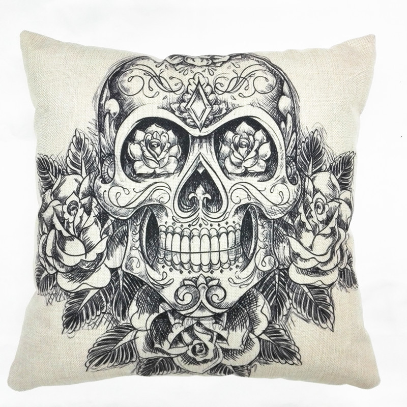 1 piece popular black printed vintage decorative pillowcases hot sale halloween skele pillow casechina - Vintage Halloween Decorations For Sale