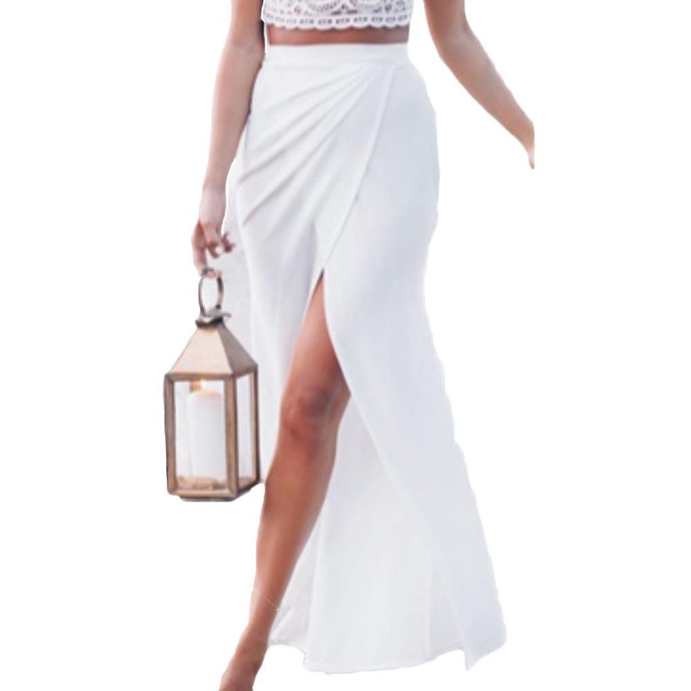 Women New White High Waist Split Wrap Maxi Skirt 2016 Spring Plain Floor length Maxi Long Empire Skirt Plus Size S M L XL(China (Mainland))