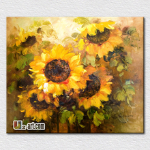 Beautiful sunflowers oil painting hot sell modern canvas pictures for bedroom decoration wall hangings(China (Mainland))