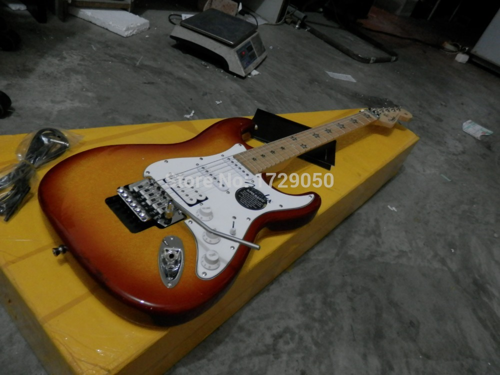 Free shipping highest quality ST star inlay sunburst Electric guitar with Floyd Rose Tremolo 227 Real photos stratocaster(China (Mainland))