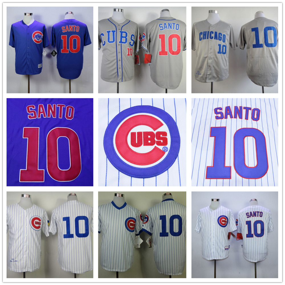 Ron Santo Jersey, High Quality Chicago Cubs 10# Throwback Baseball Jersey Stitched Baseball Shirt Beige Blue Gray White(China (Mainland))