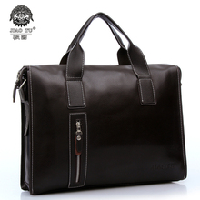 Free shipping 2014 New brand black leather briefcase business shoulder bags shopkeeper recommended style men's messenger bag HOT(China (Mainland))