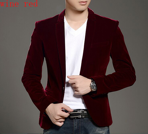 Alpha 2015 Men Velvet Blazer Slim Fit Fashion Pocket Design Men's Casual Blazer Wine Red Blue Orange Black 3XL Plus Size Blazer(China (Mainland))