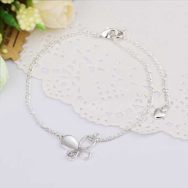 925 Sterling Silver Jewelry,925-sterling-silver Inlaid Ston Butterfly Foot Anklet  For Women As Christmas Gift