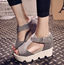 2015 platform sandals Pu Leather pumps chunky high heel belt buckle casual shoes Open Toe Platform Gladiator Trifle Shoes