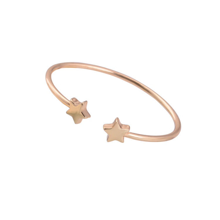 Shineland 2016 New Fashion Design Real Gold Plated Shiny Star Shape Cuff Bracelet Bangle Women Ladies Gift Jewelry - shineland Official Store store
