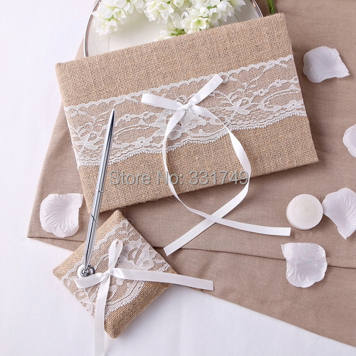 1 Set of Silver Pen Set and Guest Book Lace Linen Wedding Collection Anniversary Wedding Favors GB000(China (Mainland))