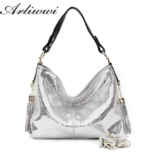 PROMOTION Luxurious Gold Silver Snake Pattern Embossed Cowhide Women Handbags Designer 100% Real Leather Shoulder Bags SN1525(China (Mainland))