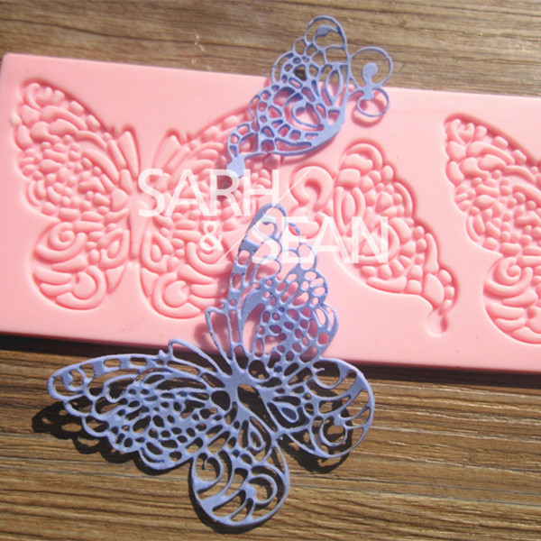 L065 Medium Butterfly lace mold cake mold silicone baking tools kitchen accessories decorations for cakes Fondant(China (Mainland))