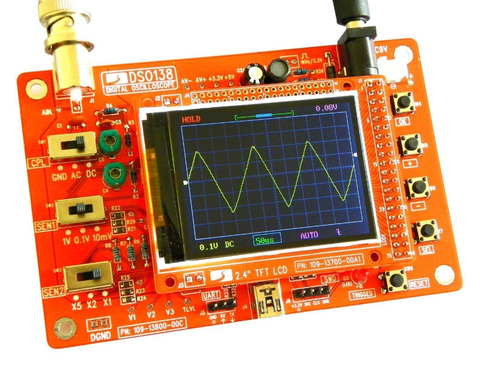 "Гаджет  DSO138 2.4"" TFT Digital Oscilloscope Kits 200KHz Tester 1Msps Bandwidth w/ probe None Инструменты"