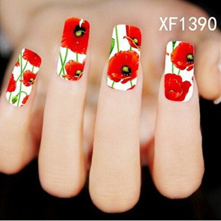 [NR-XF1390]1 Sheet New Nail Art Flower Stickers Decals Water Transfer Wraps Decorations Manicure Care Tools(China (Mainland))