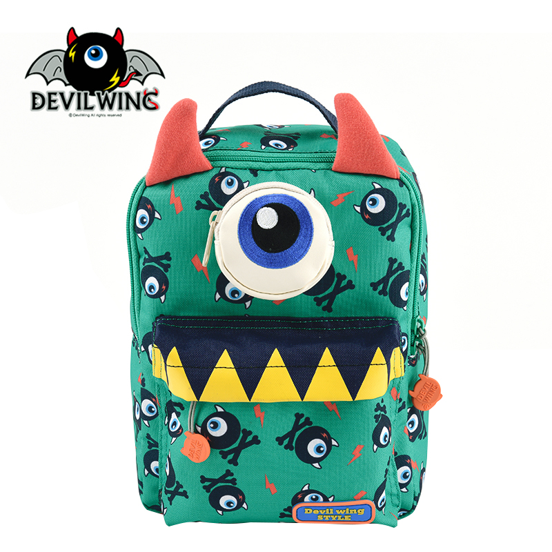 Authentic Korean DEVILWING cute stereo devil horn green bag child anti lost Backpack<br><br>Aliexpress