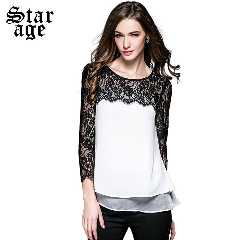 L~XXXXL Spring Lace Blouses Plus Size Woman Sexy Lace Shirt 2016 Spring Black White Fashion Tops Big Size Clothing 3564(China (Mainland))